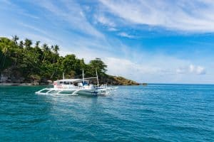 Dive boat in front of Malapascua Island