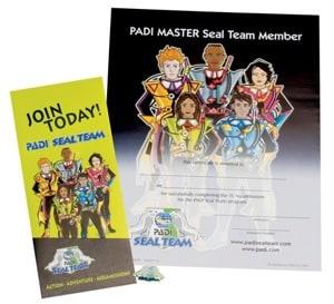 PADI Seal Team decal and certificate