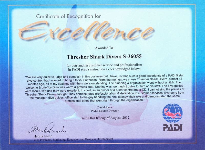 Certificate of Excellence Thresher Shark Divers Malapascua